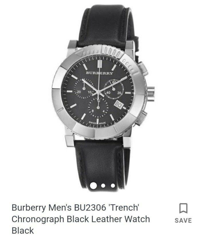 Burberry Men's BU2306 'Trench' Chronograph Black Leather Watch Black