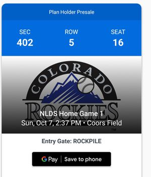 Rockies Tickets game 3 for Sale in Denver, CO