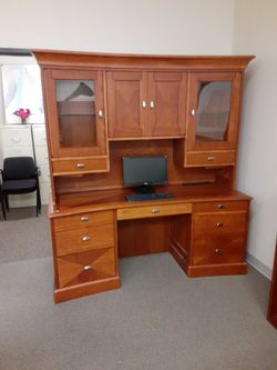 Wood Desk With Hutch Thumbnail