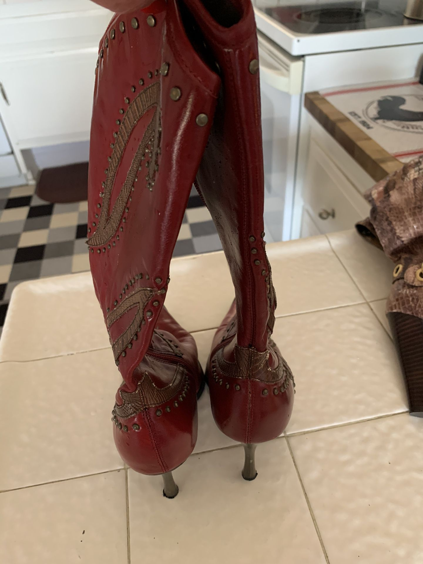Dollhouse red stud boots Size 71/2-8