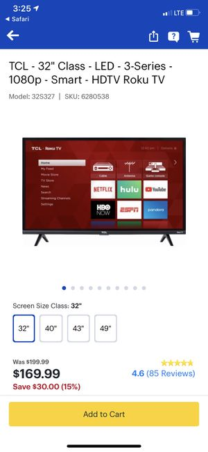 """TCL 32"""" Roku Smart TV $100 for Sale in Seattle, WA"""