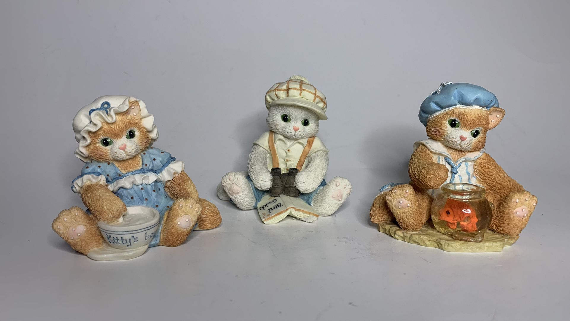 Vintage 1994 Enesco Calico Kittens Figurines Finicky, Observant, Mischievious