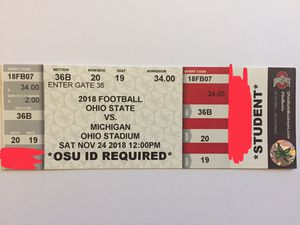 1 Ohio State vs Michigan 2018 ticket for Sale in Westerville, OH