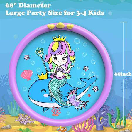 Splash Pad ,68 Inch Sprinkler Splash Pad Toys for Dogs and Kids, Inflatable Kids Sprinkler Play Mat with Funny Ring Toss Game, Summer Outdoor Water To