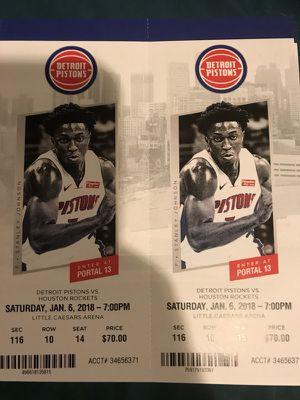 Detroit Pistons vs Houston Rockets Saturday 01/06 for Sale in Windsor, ON