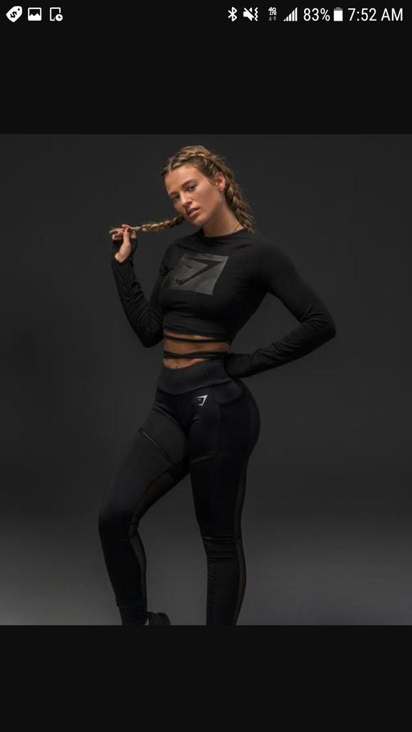0f7fe6026ff3 Medium Blackout Long Sleeve Ribbon Crop Top (Limited Edition) - Gymshark