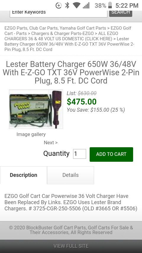 Photo Ezgo power wise 36 volt golf cart battery charger $185.00 or best offer