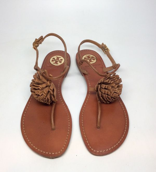 4f800f877e7 Tory and Burch women s handmade size 5 brown leather thong sandals  (Clothing   Shoes) in North Riverside