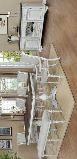 Bardot White/Brown Extendable Dining Set Thumbnail