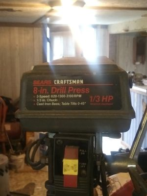 Photo Craftsman 8 drill press 3speed 1/3hp