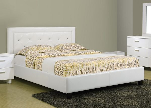 Rhiannon White Faux Leather Queen Size Bed for Sale in Los Angeles ...
