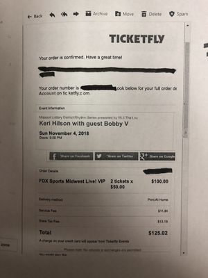 2 KERI HILSON AND BOBBI VALENTINO VIP TICKETS for Sale in St. Louis, MO