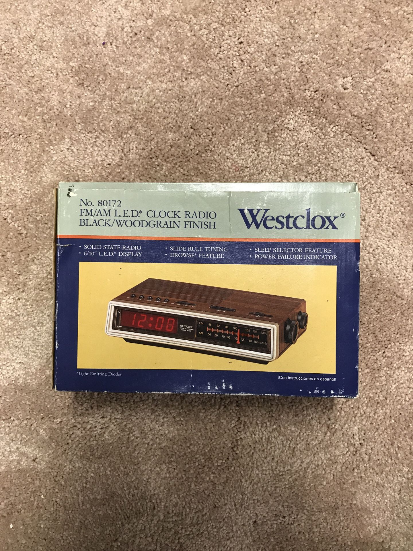 Vintage alarm clock with radio