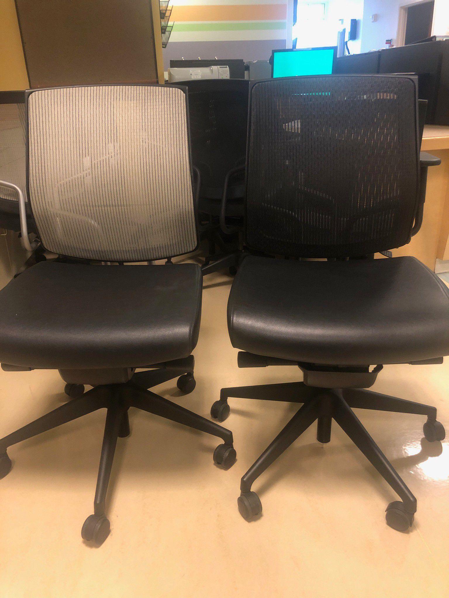 Black leather mesh back task chair (grey or black)