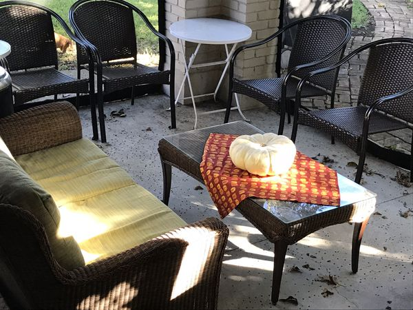 Outdoor Back Porch 6 7 Piece Wicker Furniture Set For Sale In Dallas