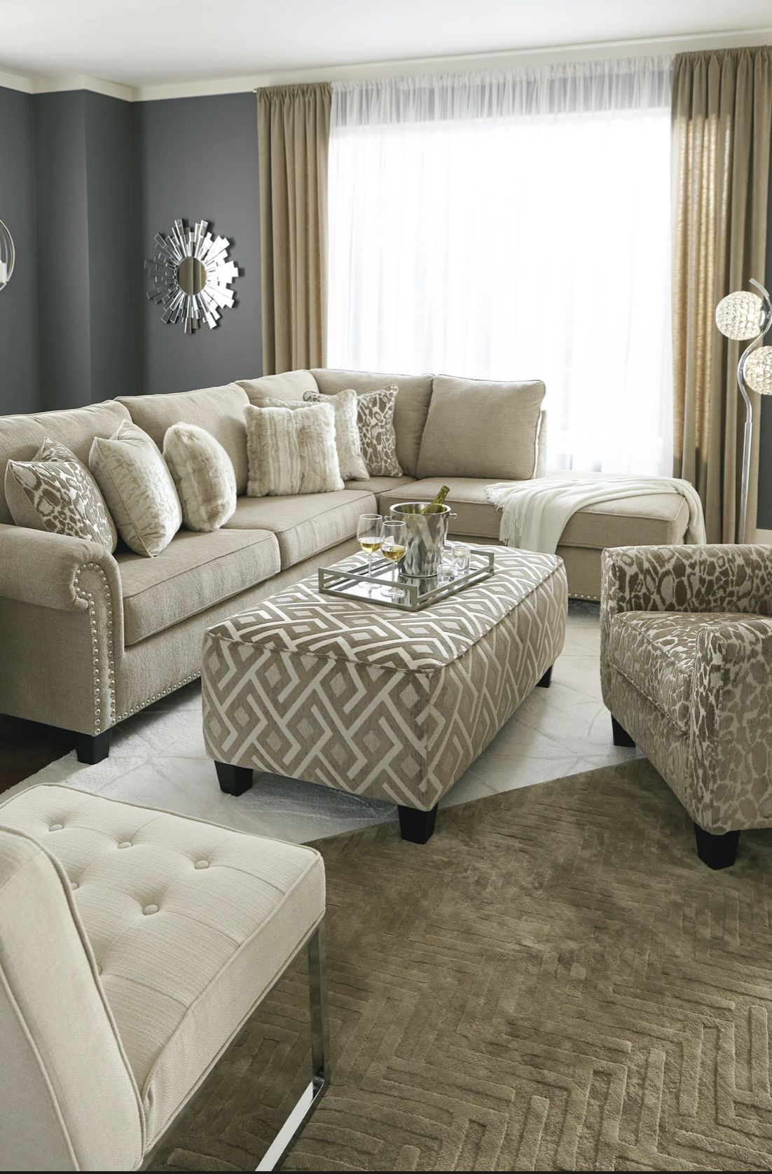 Same day delivery🙏 👉🏻 Dovemont Putty RAF Sectional💁♀️Best Offer 💁♀️- $39 Down 👍👍