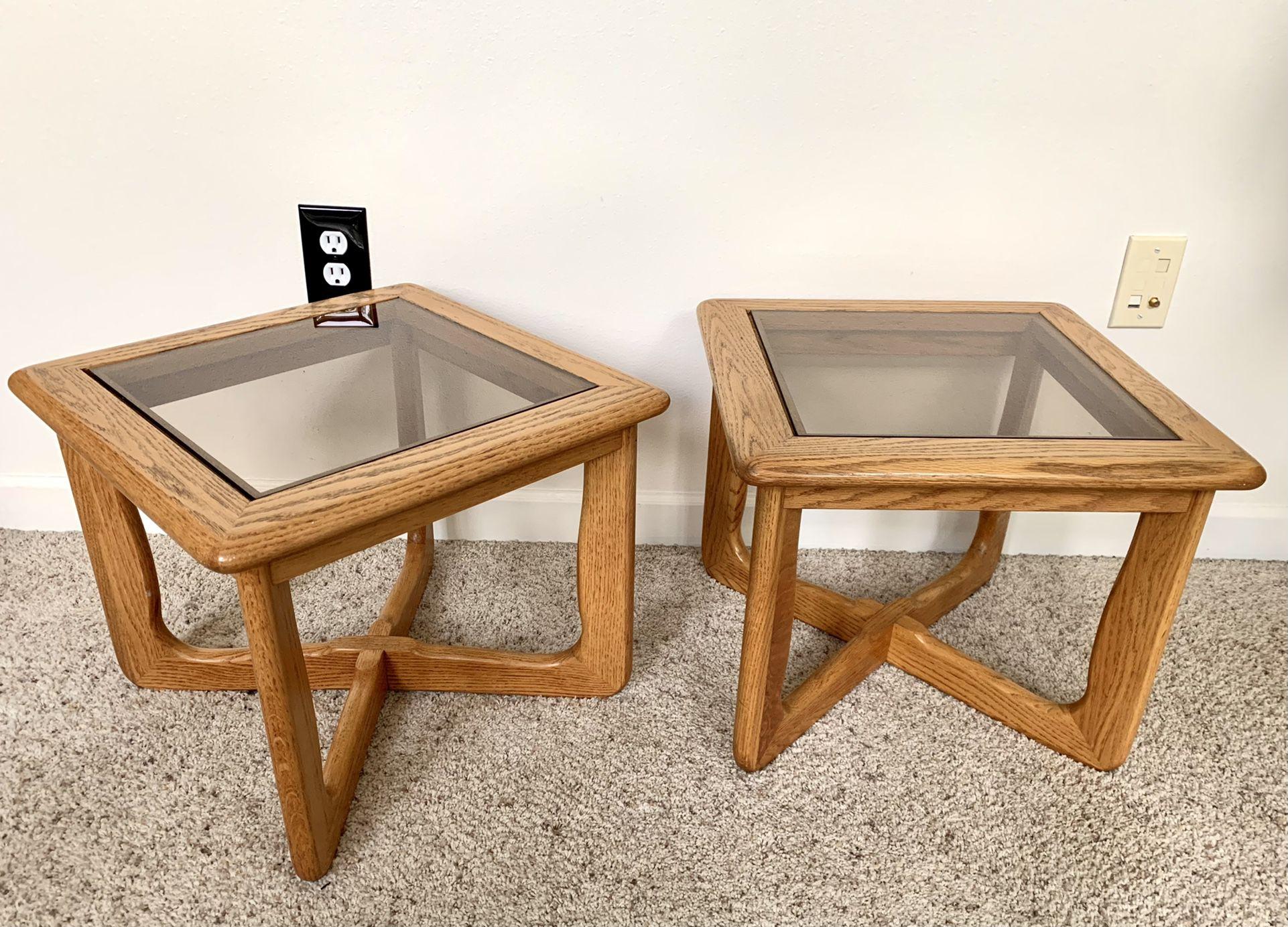 • vintage retro deco wood + smokey glass accent tables •