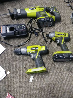 Ryobi saw and two drills two batteries and charger for Sale in Lewis Center, OH
