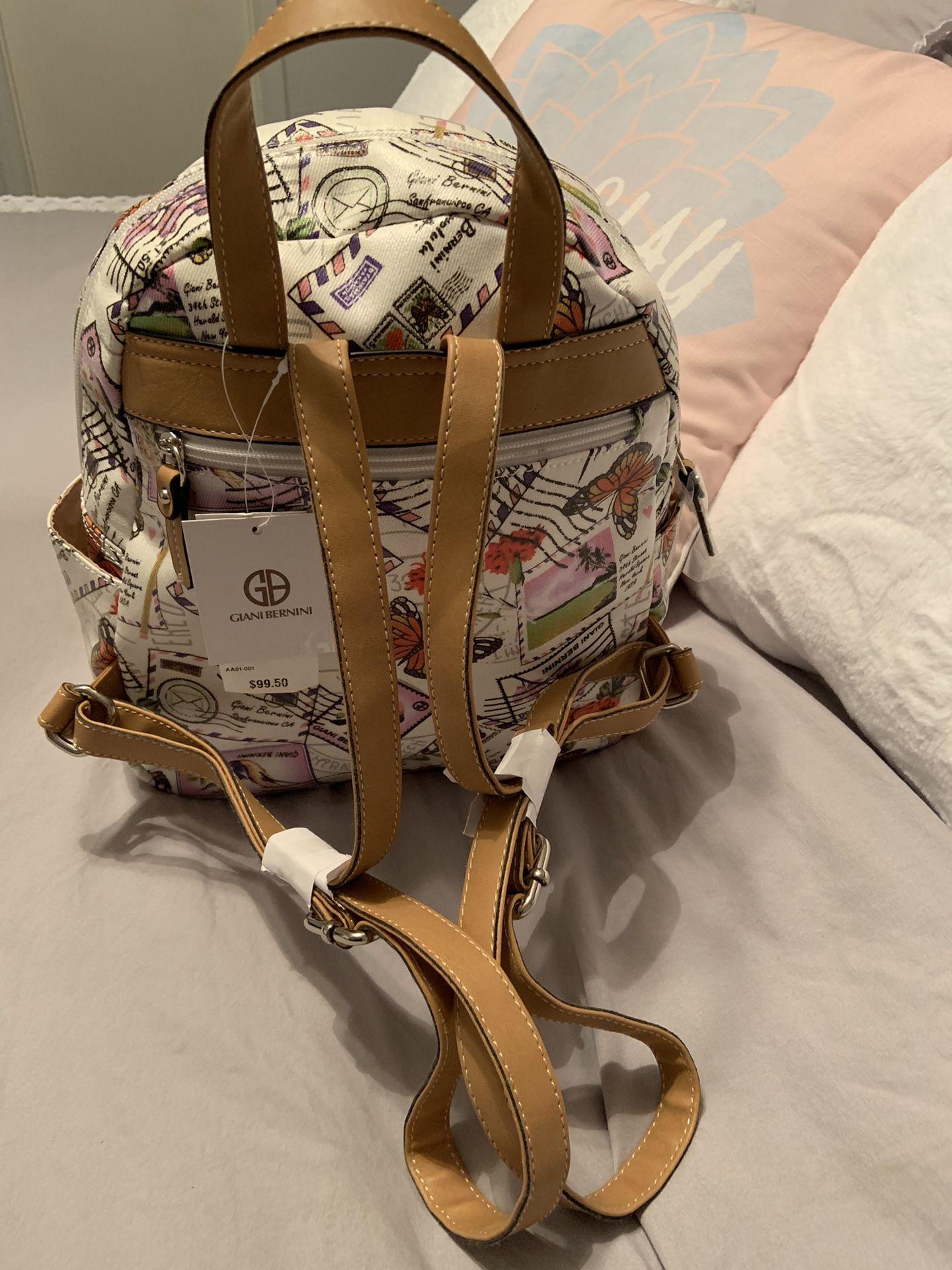 New Giani Bernini Canvas Postcard Backpack