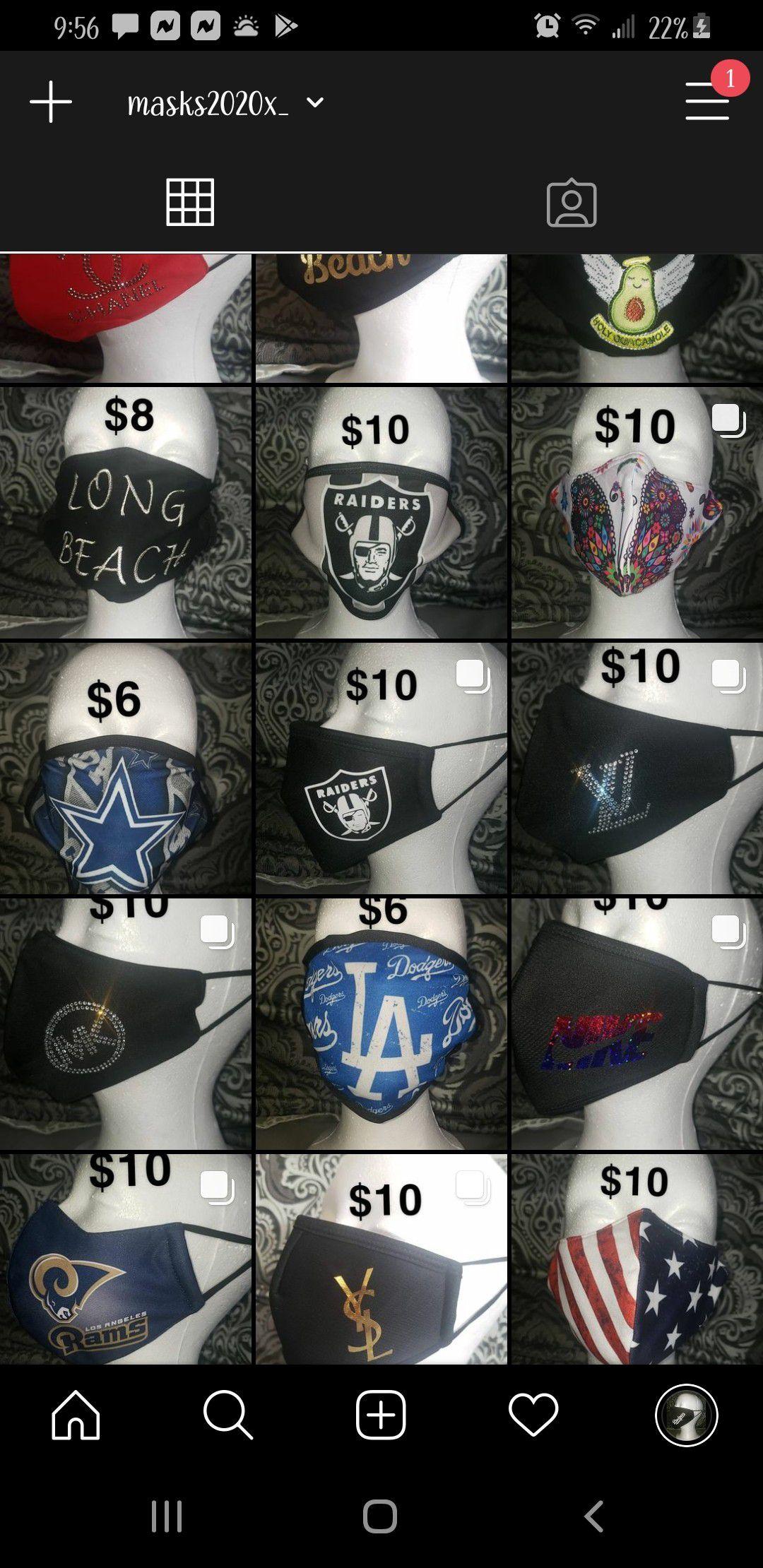 Masks for sale $4-$15