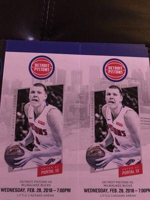 Detroit Pistons vs Milwaukee Bucks 2/28 - two Tickets for Sale in Windsor, ON