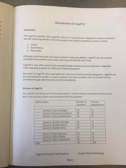 CoGAT Practice Test Grade 2 second grade Like New, Bright Minds Publishing with answer keys Thumbnail
