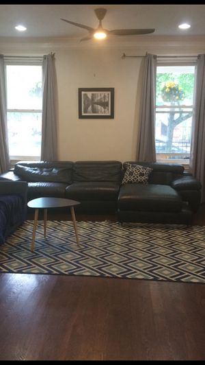 Black Italian Leather Couch Sectional for Sale in Riverdale, MD