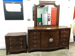 Beautiful dresser and mirror and nightstand $450 for Sale in Gaithersburg, MD