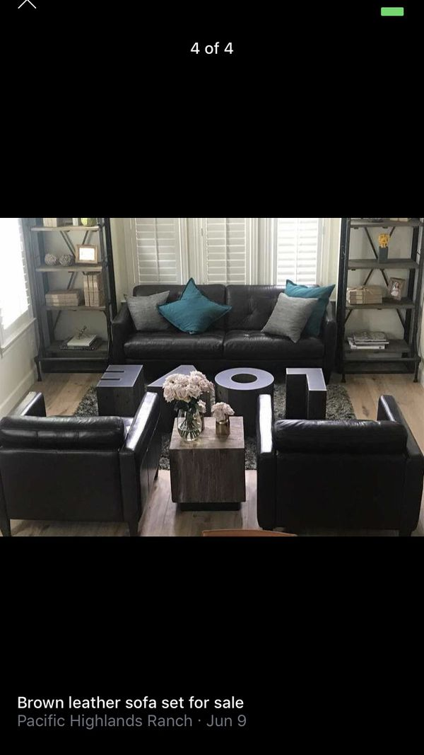 Brown Leather Living Room Set Furniture In San Diego Ca