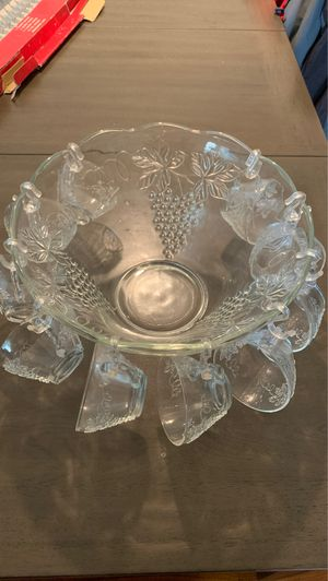Photo Glass punch bowl with cups and 24 pcs utensil set