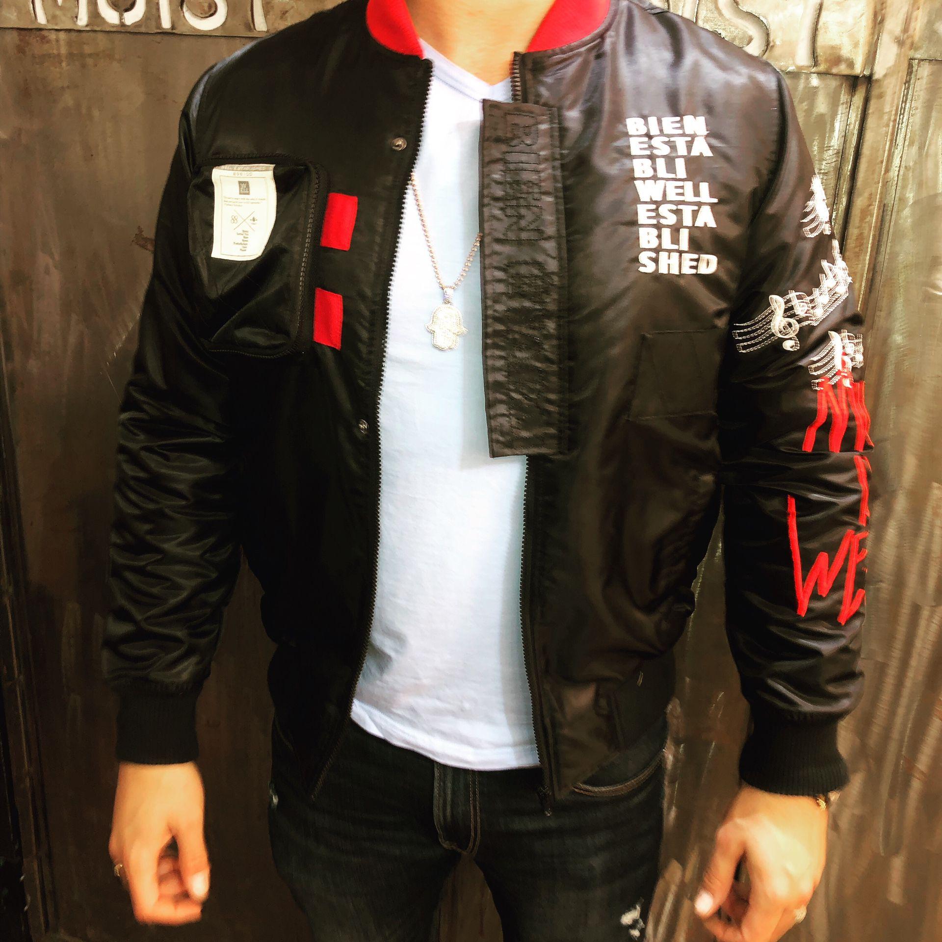 Bomber music jacket sizes small medium large Xl