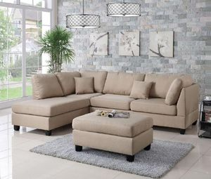 Brand new linen sectional sofa with ottoman for Sale in Silver Spring, MD