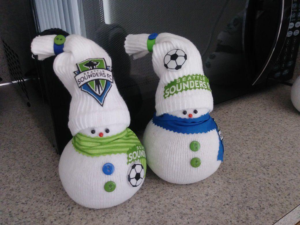 New Handmade Seattle Sounders Snowmen