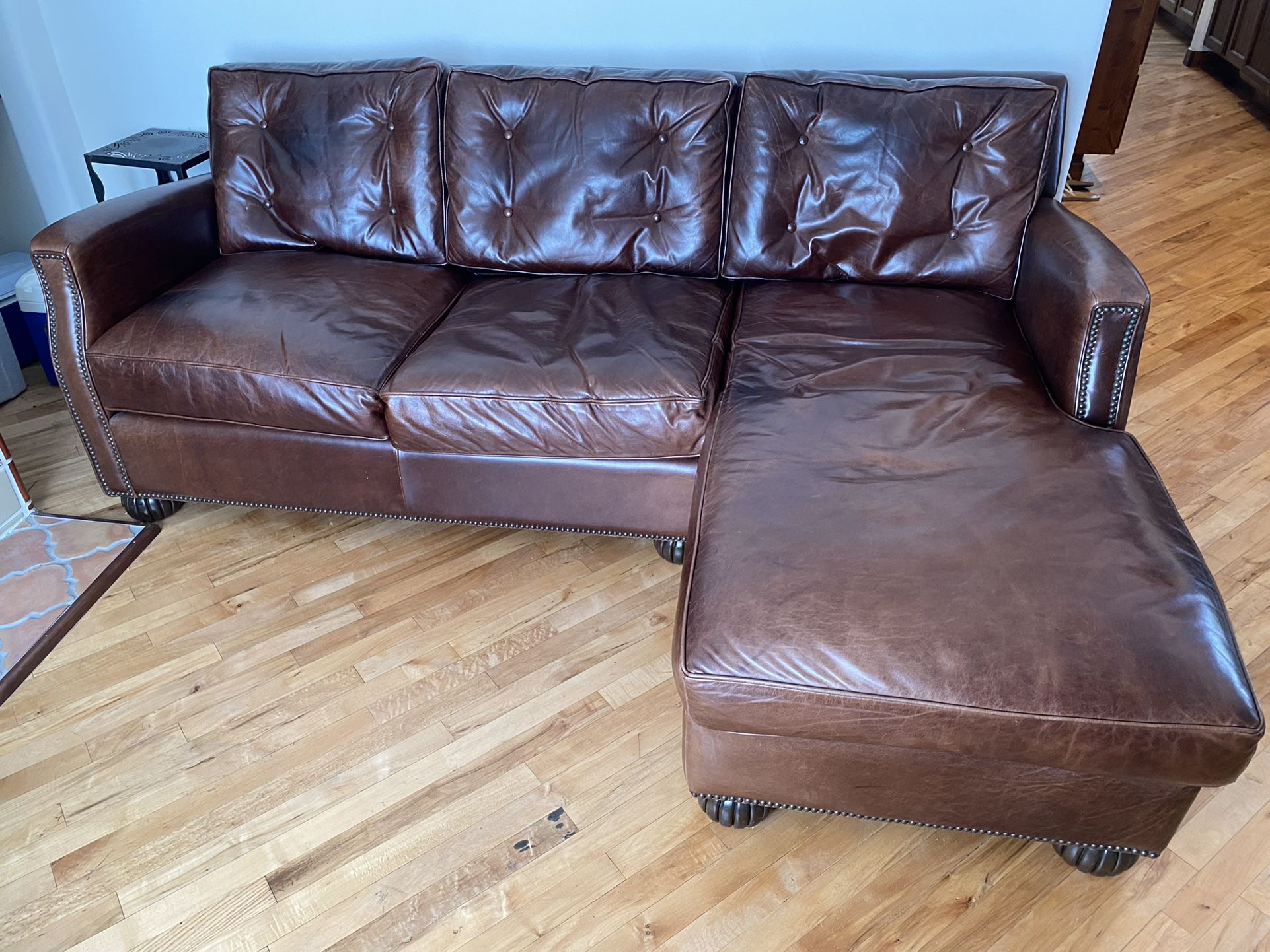 """83.5"""" Custon Leather Couch With Right Hand Chaise Lounge"""
