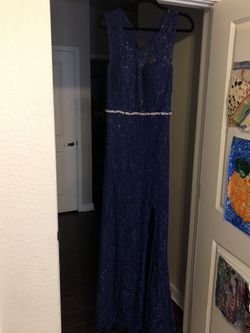 Navy Blue Mermaid Prom Dress Thumbnail
