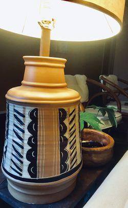 Vintage Native American Style Large Handmade Painted Terra-cotta Table Lamp Thumbnail