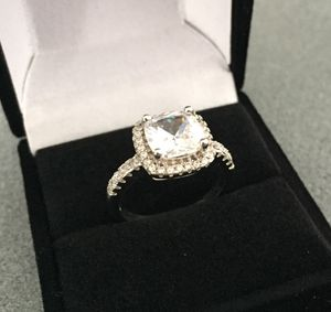 BRAND NEW|SIZE 7|CUSHION 2 Carat SYNTHETIC DIAMOND|925 SOLID SILVER|COLOR D-F|EXCELLENT CUT|VVS1|HYPOALLERGENIC|GIFT BOX for Sale in Cleveland, OH