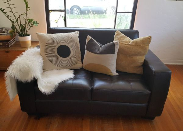 loveseat sofa, leather look couch for Sale in Culver City, CA - OfferUp