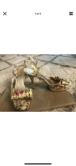 Guess Marciano Empower Patent Floral Ankle Wrap Strap Platform Gold Heels 7 Thumbnail