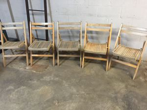 5 Vintage Wood Folding Chairs for Sale in St. Louis, MO