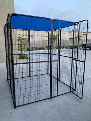 Photo New 72 Tall x 32 Wide Panel Heavy Duty 8 Panels Dog Playpen Pet Safety Fence Adjustable Shape and Space with Sunshade Tarp Canopy Cover