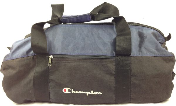 76b82bc7aab0 Vintage Champion Brand Black  Dark Blue Embroidered Duffle Bag for ...