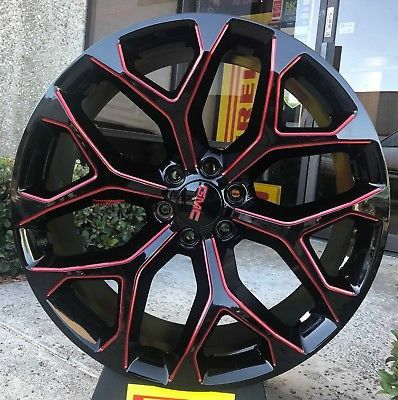 22 24 Snowflake Wheels Black Red Milling With Tires Chevy Tahoe