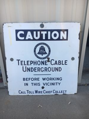 Telephone Cable Underground Sign for Sale in San Francisco, CA