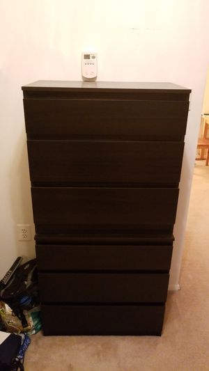 2 black Ikea 3-drawer dressers for Sale in Alexandria, VA