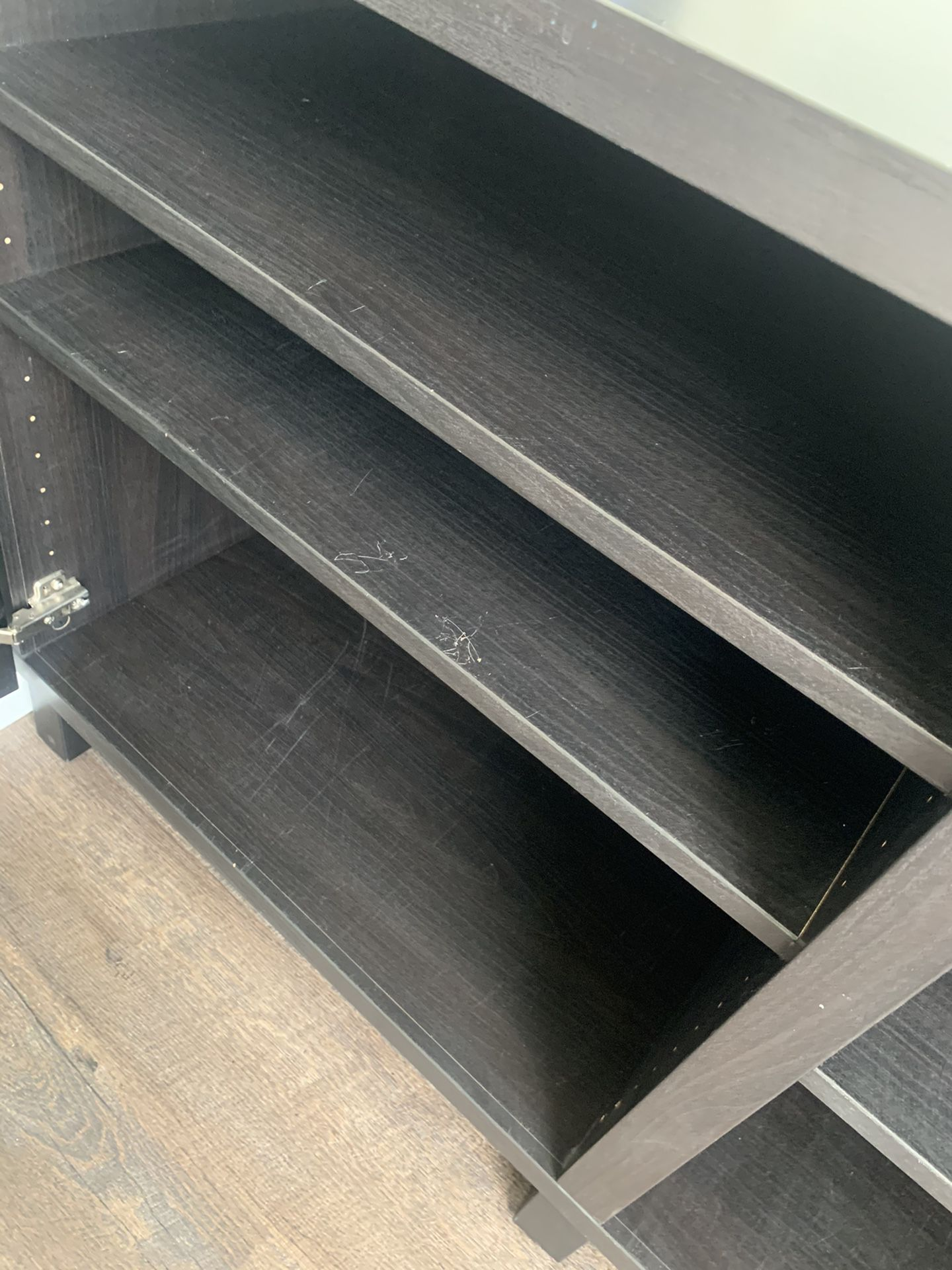 IKEA Black Media Console Cabinet with Adjustable Shelves