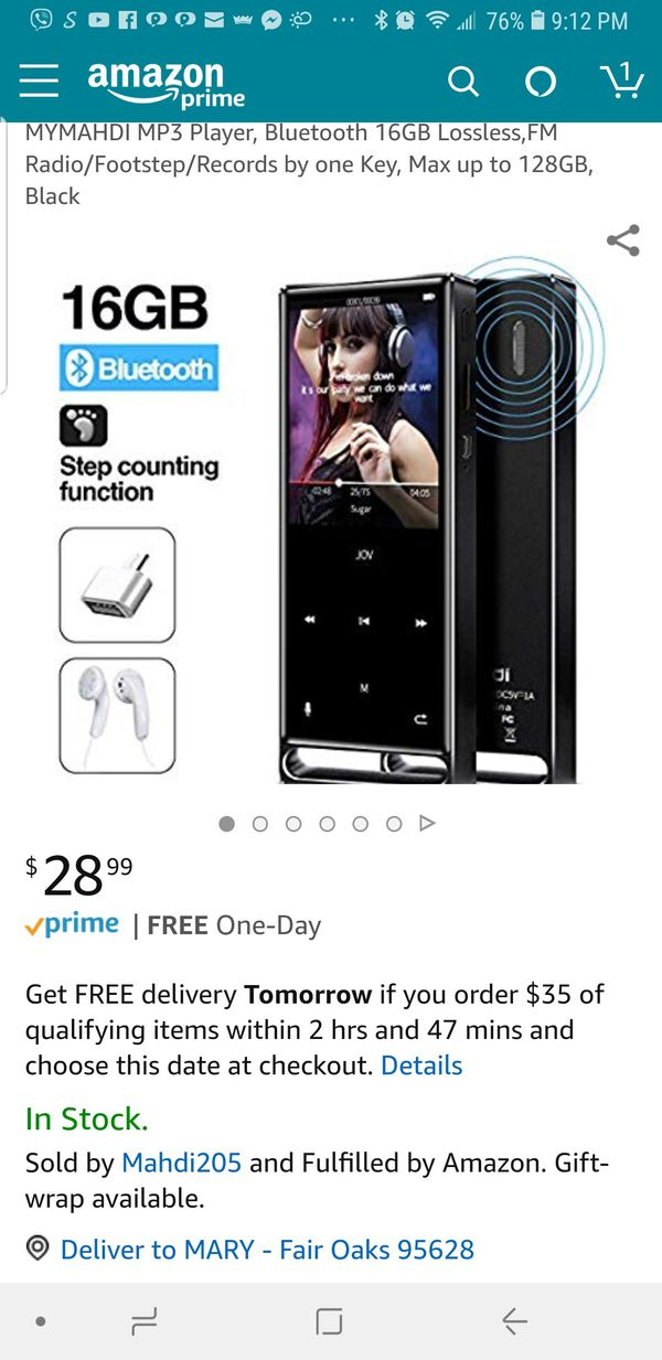 New MYMAHDI MP3 Player, Bluetooth 16GB Lossless,FM Radio/Footstep/Records  by one Key, Max up to 128GB, Black for Sale in Fair Oaks, CA - OfferUp