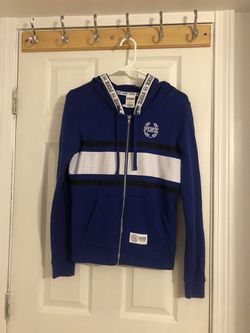 VS PINK Blue Full-Zip Hoodie (Size Small) Thumbnail