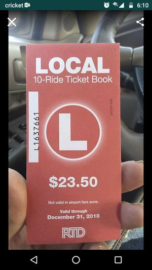 Local RTD bus tickets 10 to a book and i have 20 books and I'm selling each book for $15 it's a good deal for Sale in Denver, CO
