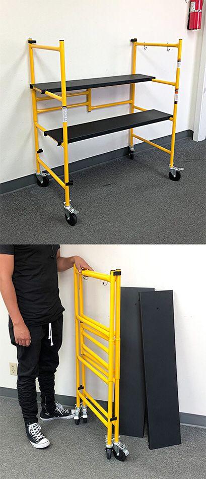 "$55 NEW Heavy Duty Steel Folding Scaffold Step Ladder - 500lbs Capacity 39""x22""x46"""